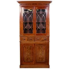Tall English Bookcase Glazed Library Cabinet Mahogany, 19th Century