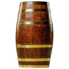 Tall English Early 20th Century Oak Barrel with Six Brass Bands