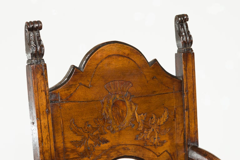 Tall English Georgian Wooden Armchair with Carved Cartouche, circa 1800-1820 For Sale 8