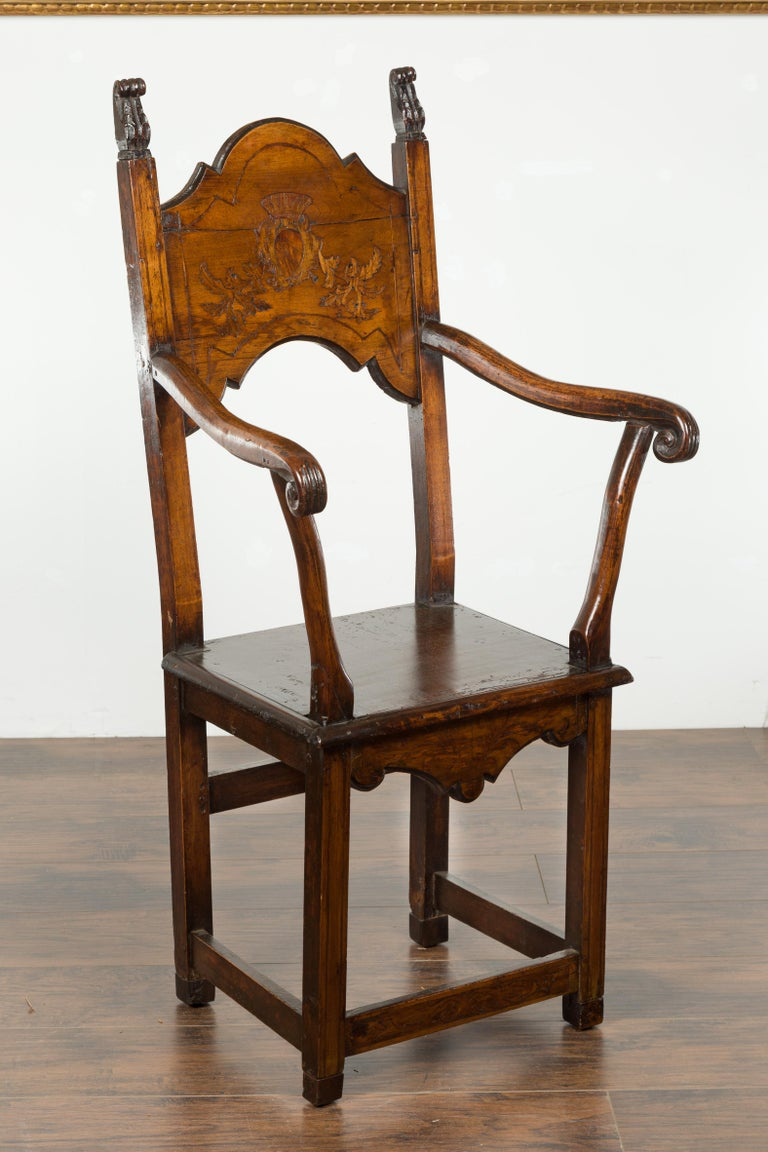 Tall English Georgian Wooden Armchair with Carved Cartouche, circa 1800-1820 In Good Condition For Sale In Atlanta, GA