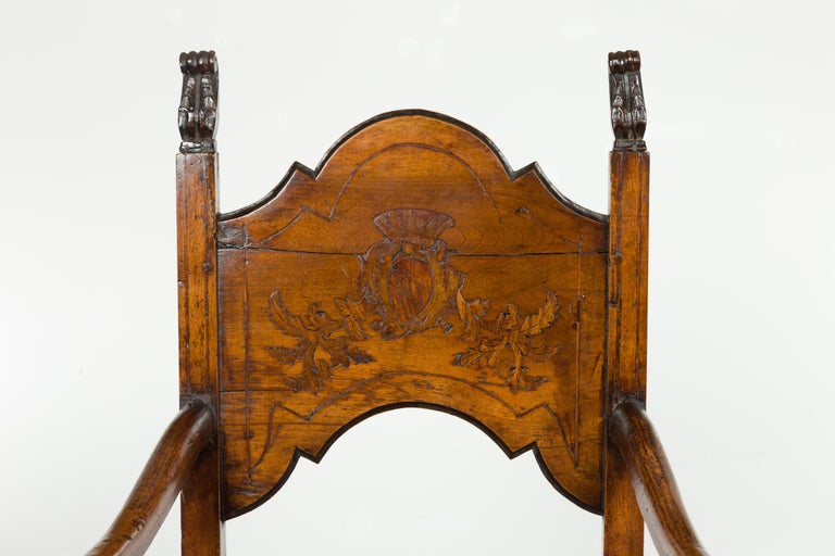 Tall English Georgian Wooden Armchair with Carved Cartouche, circa 1800-1820 For Sale 1