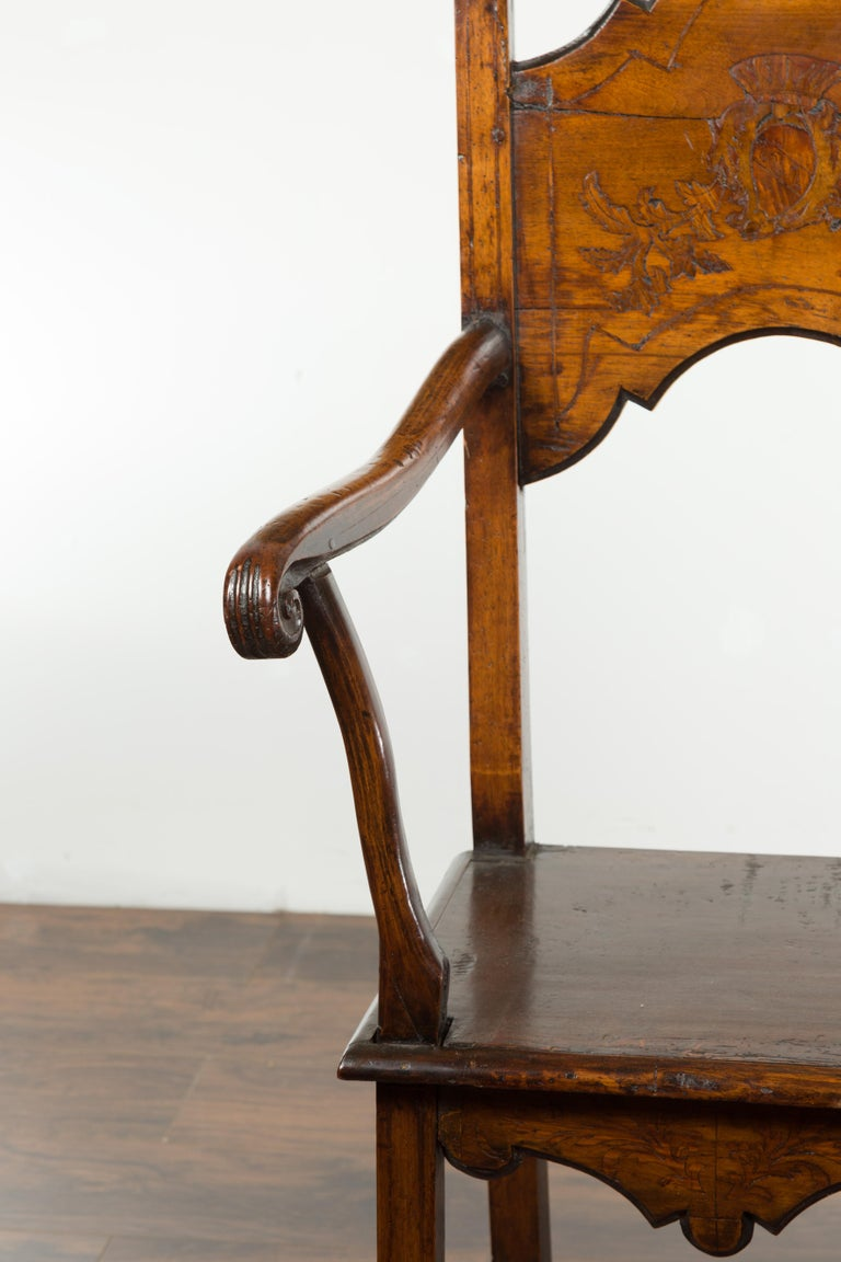 Tall English Georgian Wooden Armchair with Carved Cartouche, circa 1800-1820 For Sale 4