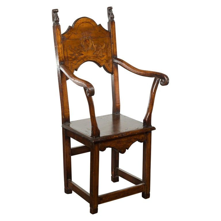 Tall English Georgian Wooden Armchair with Carved Cartouche, circa 1800-1820 For Sale