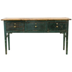 Tall English Painted Sideboard