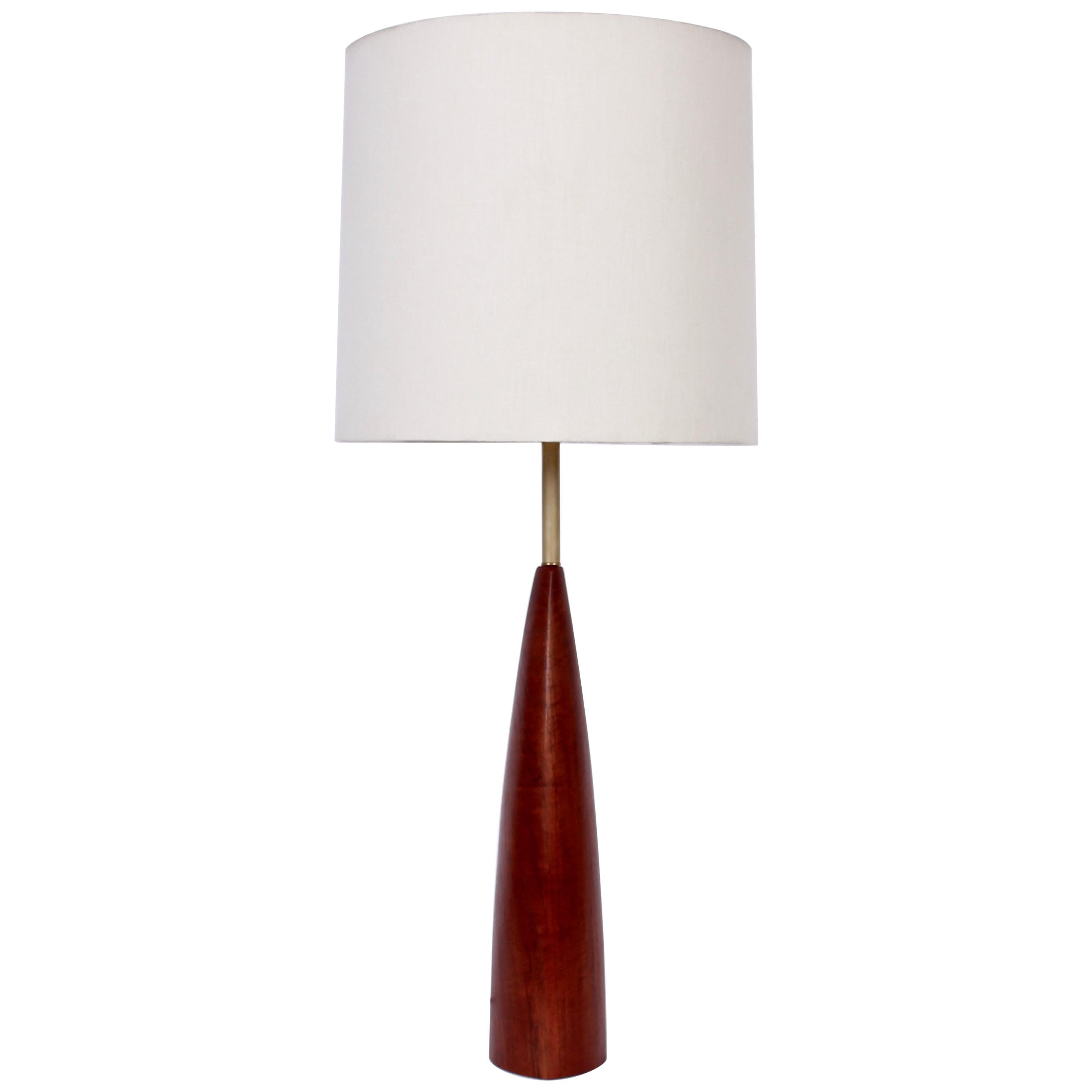 Tall Ernst Henriksen Denmark Turned Teak and Brass Table Lamp, 1960's