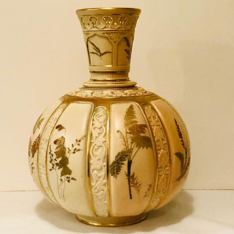 Tall Fabulous Royal Worcester Vase Hand Painted with Ferns and Other Flora For Sale 2