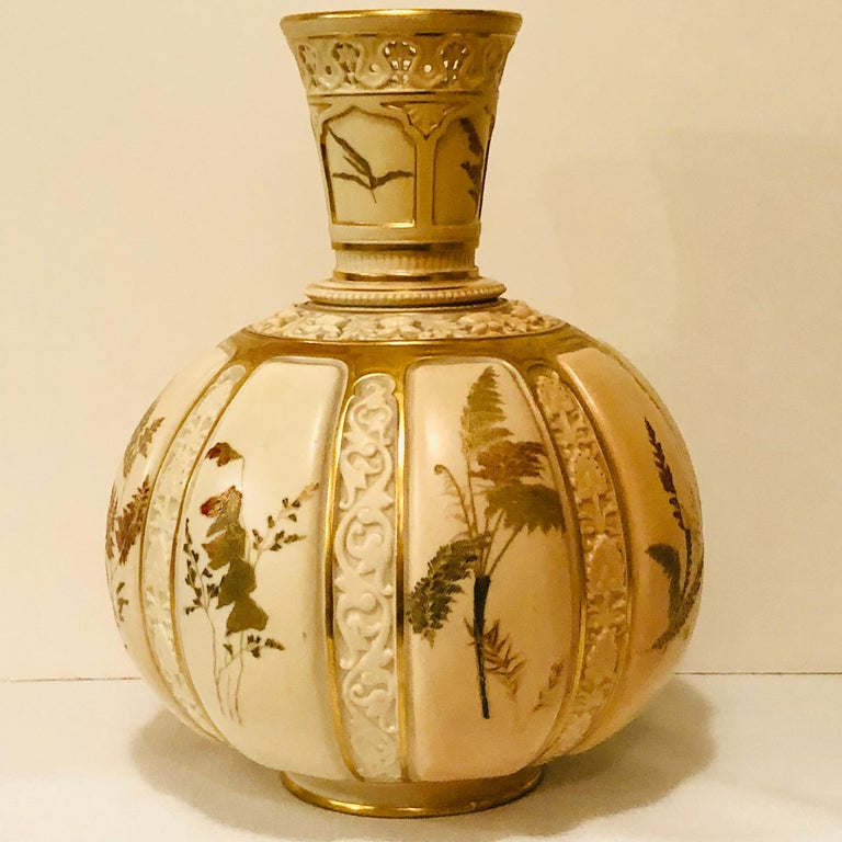 Tall Fabulous Royal Worcester Vase Hand Painted with Ferns and Other Flora For Sale 3