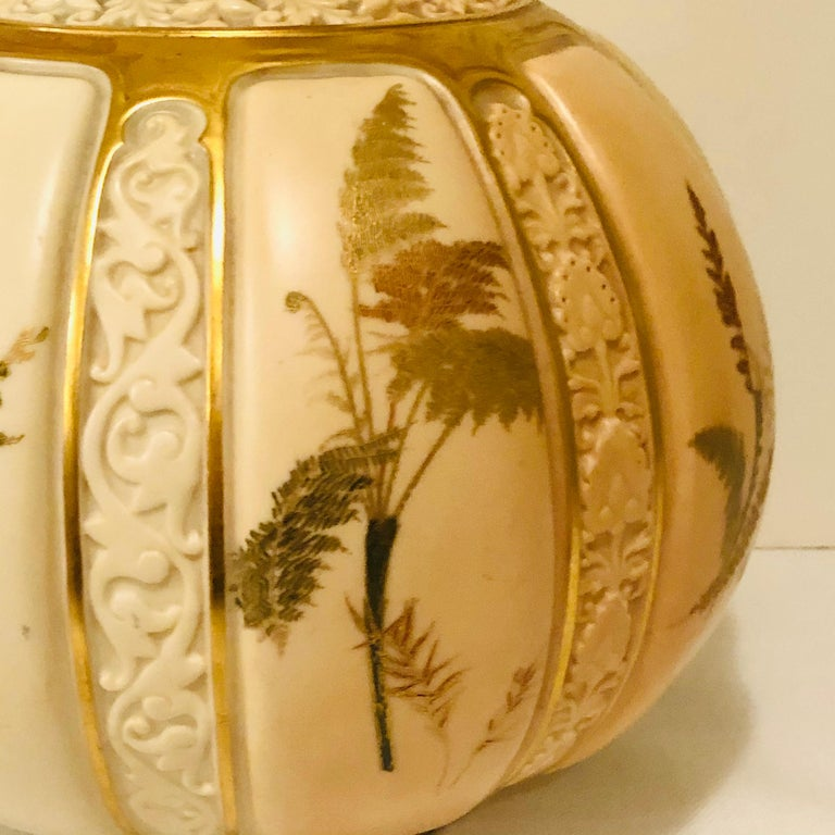 Romantic Tall Fabulous Royal Worcester Vase Hand Painted with Ferns and Other Flora For Sale