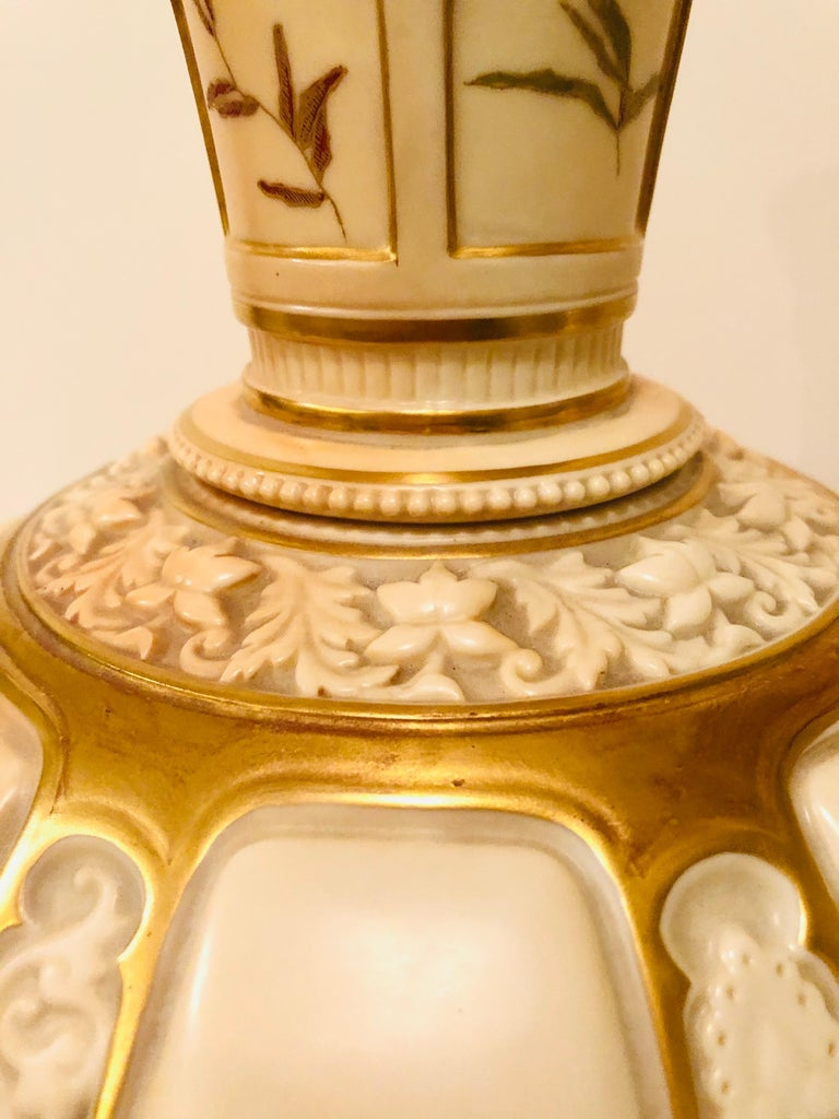 English Tall Fabulous Royal Worcester Vase Hand Painted with Ferns and Other Flora For Sale