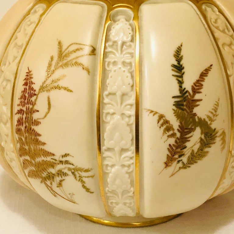 Hand-Painted Tall Fabulous Royal Worcester Vase Hand Painted with Ferns and Other Flora For Sale