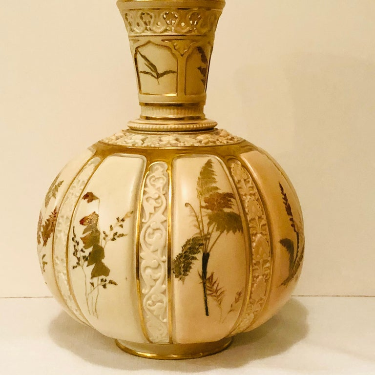 Tall Fabulous Royal Worcester Vase Hand Painted with Ferns and Other Flora In Good Condition For Sale In Boston, MA