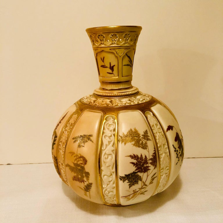 Late 19th Century Tall Fabulous Royal Worcester Vase Hand Painted with Ferns and Other Flora For Sale