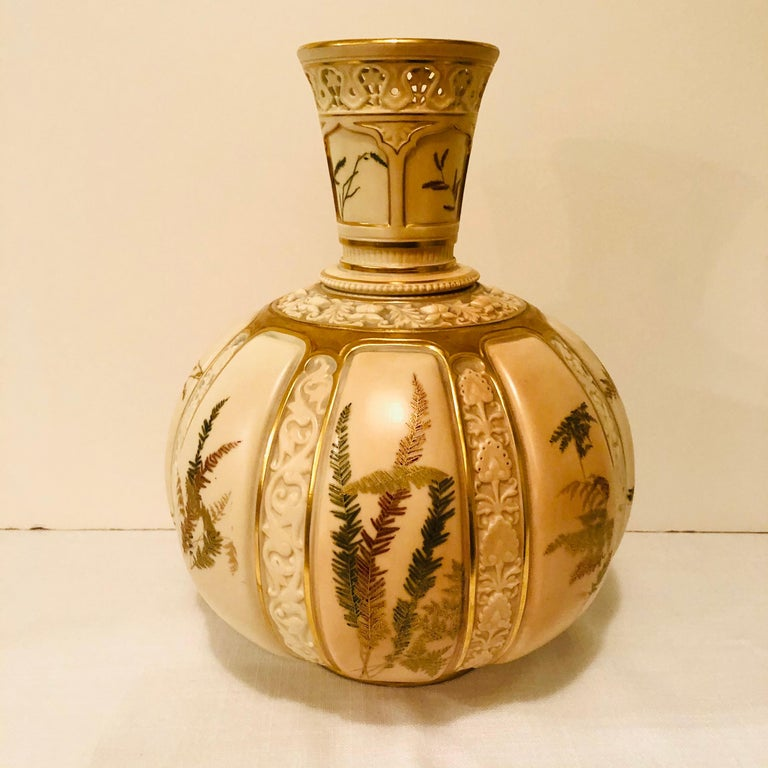 Porcelain Tall Fabulous Royal Worcester Vase Hand Painted with Ferns and Other Flora For Sale