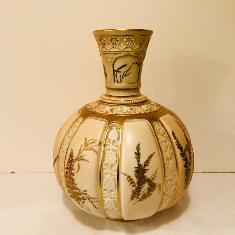 Tall Fabulous Royal Worcester Vase Hand Painted with Ferns and Other Flora For Sale 1