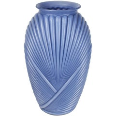 Tall Faceted Geometric Blue Art Deco Draped Glass Vase, 1980s