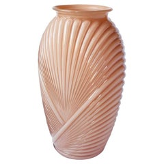 Tall Faceted Geometric Pink Art Deco Draped Glass Vase, 1980s