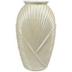 Tall Faceted Geometric White Pearlized Art Deco Draped Glass Vase, 1990s