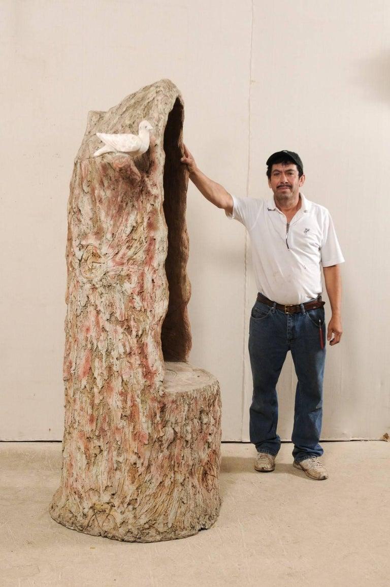Tall Faux Bois Midcentury Tree Trunk Style American Folk Art Niche For Sale 7