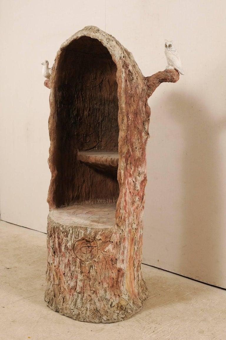 Tall Faux Bois Midcentury Tree Trunk Style American Folk Art Niche In Good Condition For Sale In Atlanta, GA