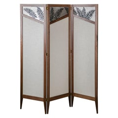 Tall Fern Folding Screen/Room Divider in Walnut with Metal and Fabric Screens