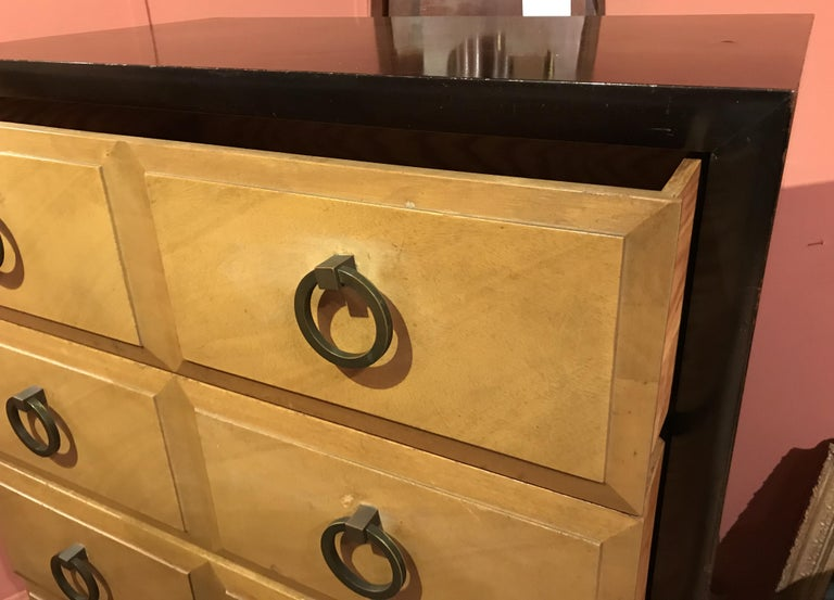 Tall Five Drawer Midcentury Chest Moderne by Widdicomb Furniture Co. In Good Condition For Sale In Milford, NH
