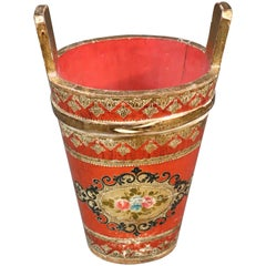 Tall Florentine Paint Decorated Gilded Italian Waste Paper Basket Trash Can