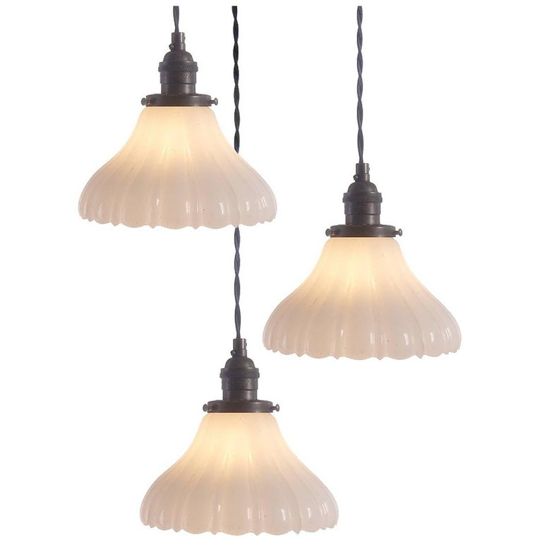 Tall Fluted Clam Broth Bell Pendent