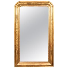 Tall French 1900s Louis-Philippe Mirror with Clover and Crosshatch Motifs