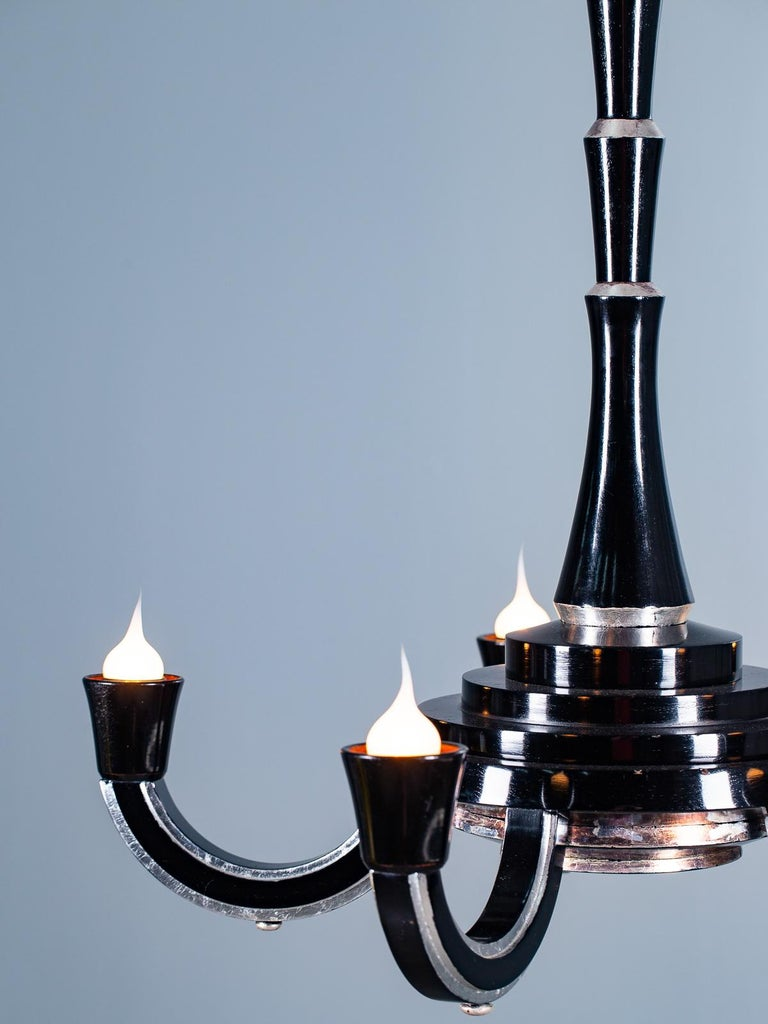 Tall French Art Deco Ebonized Silver Leaf Timber Five Light Chandelier circ 1930 For Sale 4