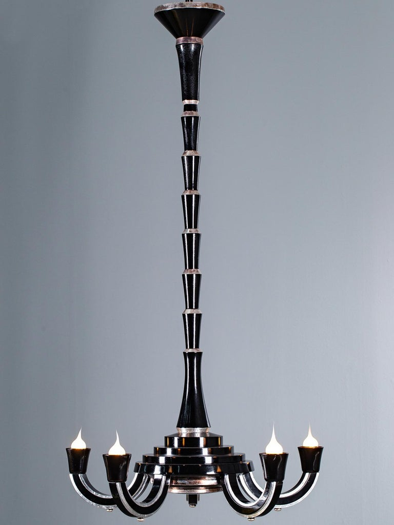 Tall French Art Deco Ebonized Silver Leaf Timber Five Light Chandelier circ 1930 In Good Condition For Sale In Houston, TX