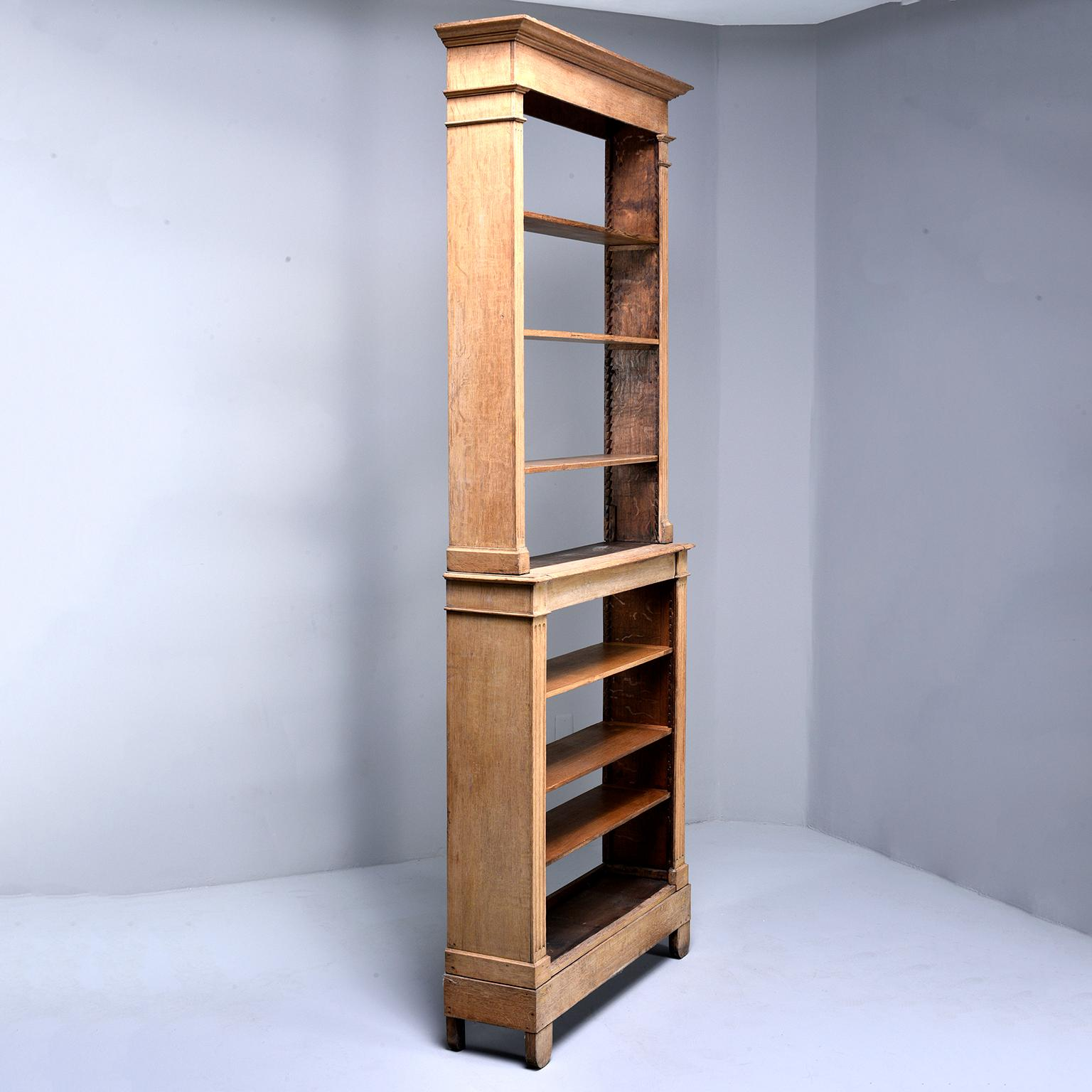 Tall French Bleached Oak Bookcase Or Étagère With Adjustable Shelves