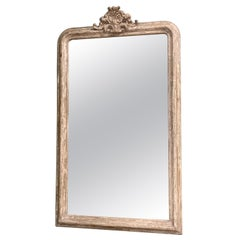 Tall French Louis Philippe Mirror with White Paint