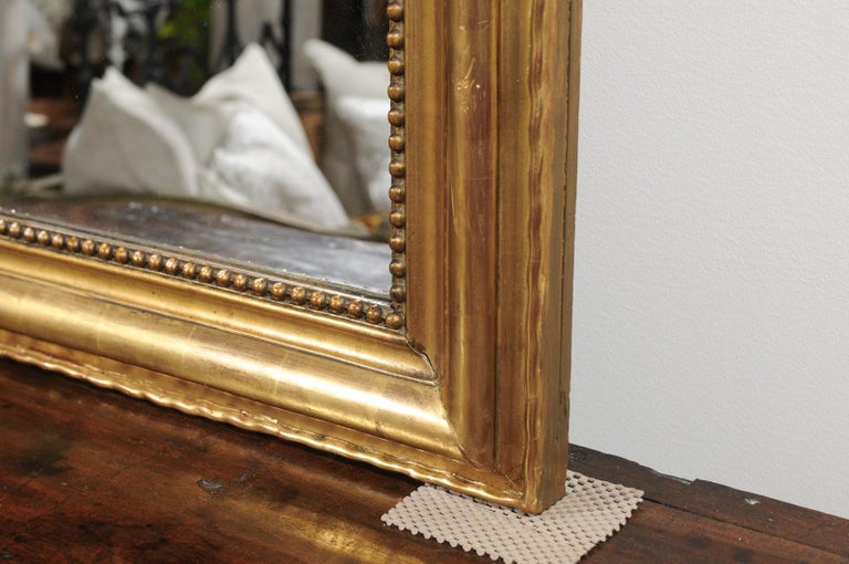 Tall French Louis-Philippe Style 19th Century Giltwood Mirror with Carved Crest For Sale 6