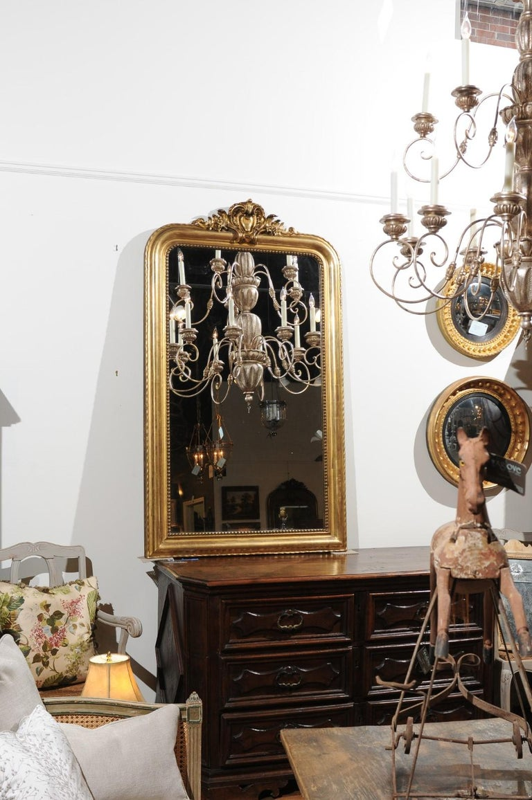 Louis Philippe Tall French Louis-Philippe Style 19th Century Giltwood Mirror with Carved Crest For Sale