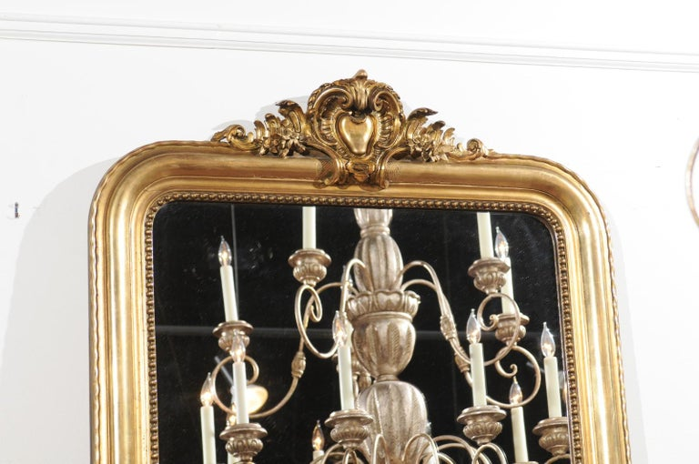 Tall French Louis-Philippe Style 19th Century Giltwood Mirror with Carved Crest For Sale 1