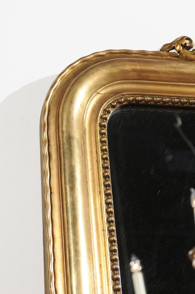 Tall French Louis-Philippe Style 19th Century Giltwood Mirror with Carved Crest For Sale 4