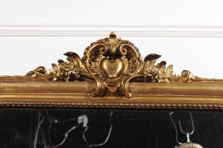 Tall French Louis-Philippe Style 19th Century Giltwood Mirror with Carved Crest For Sale 5