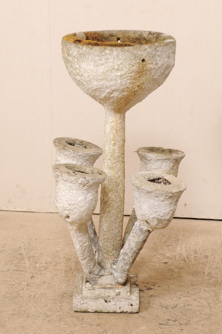 Tall French Mid-20th Century Folk Art Concrete Garden Planter For Sale 6