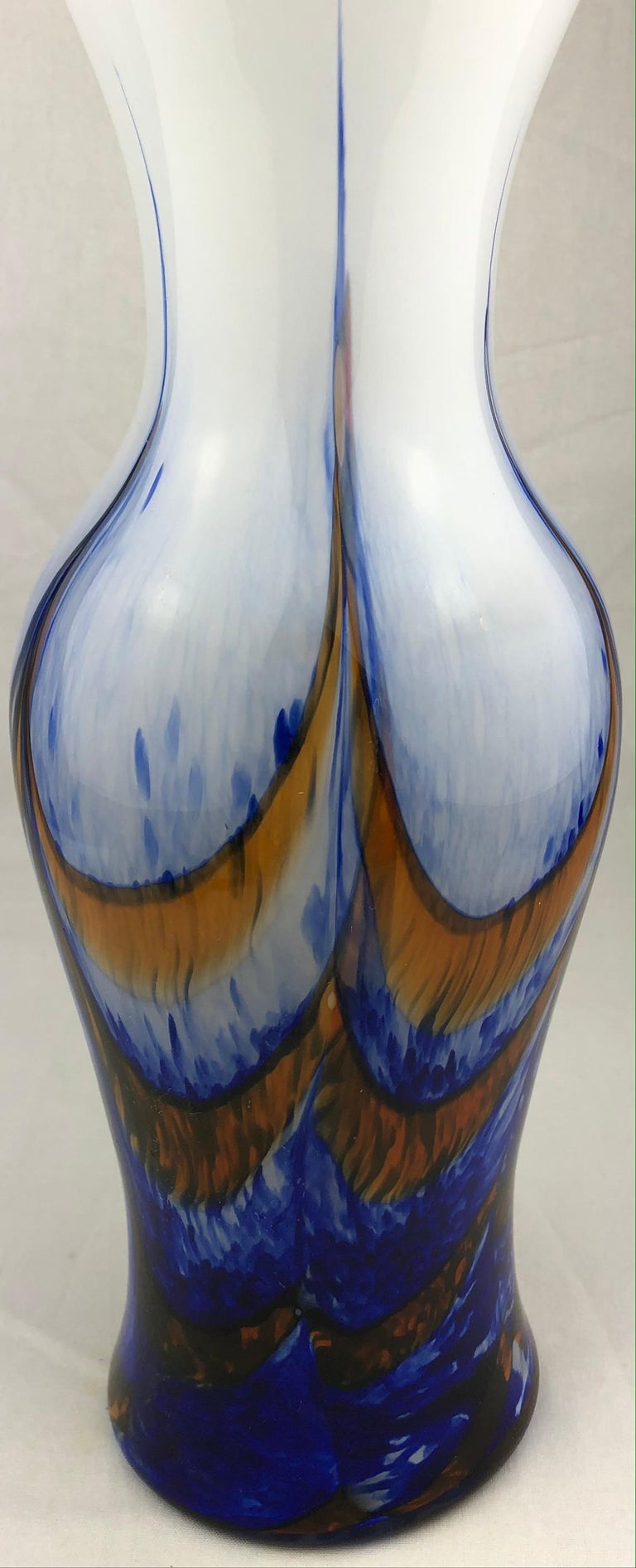 Mid-Century Modern Tall French Midcentury Art Glass Vase Attributed to Schneider Glassworks For Sale