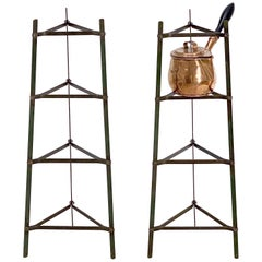 Tall French Pan or Pot Stand of Painted Metal