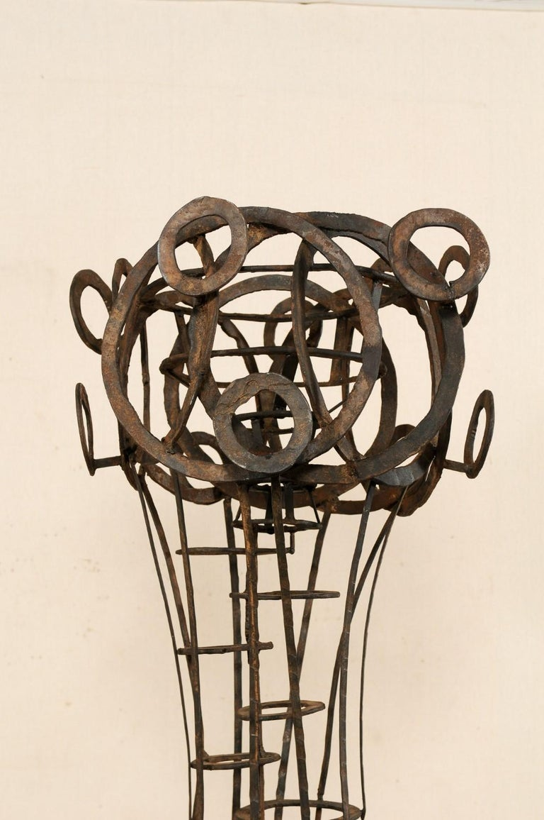 Hand-Crafted Tall French Sculptural Iron Abstract Art Piece, circa 1930s-1940s For Sale