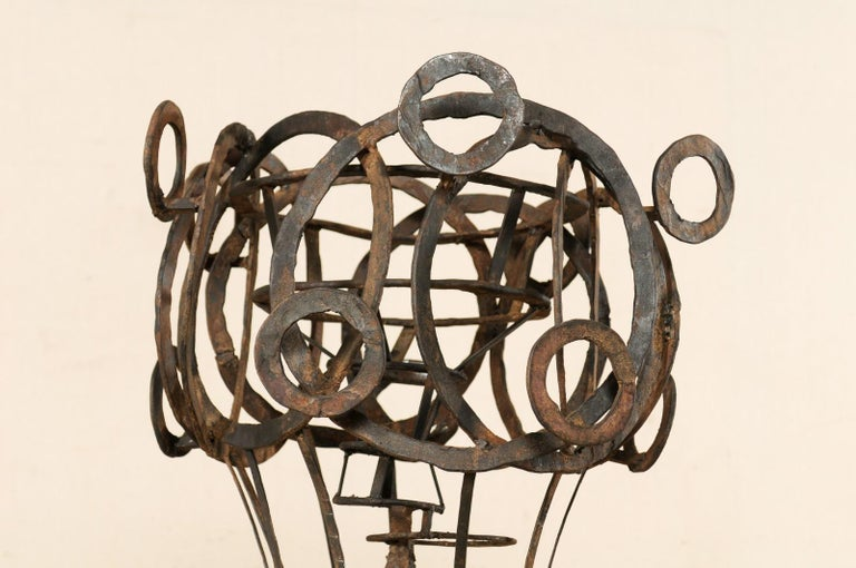 Tall French Sculptural Iron Abstract Art Piece, circa 1930s-1940s In Good Condition For Sale In Atlanta, GA