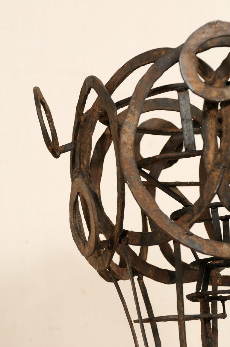 20th Century Tall French Sculptural Iron Abstract Art Piece, circa 1930s-1940s For Sale