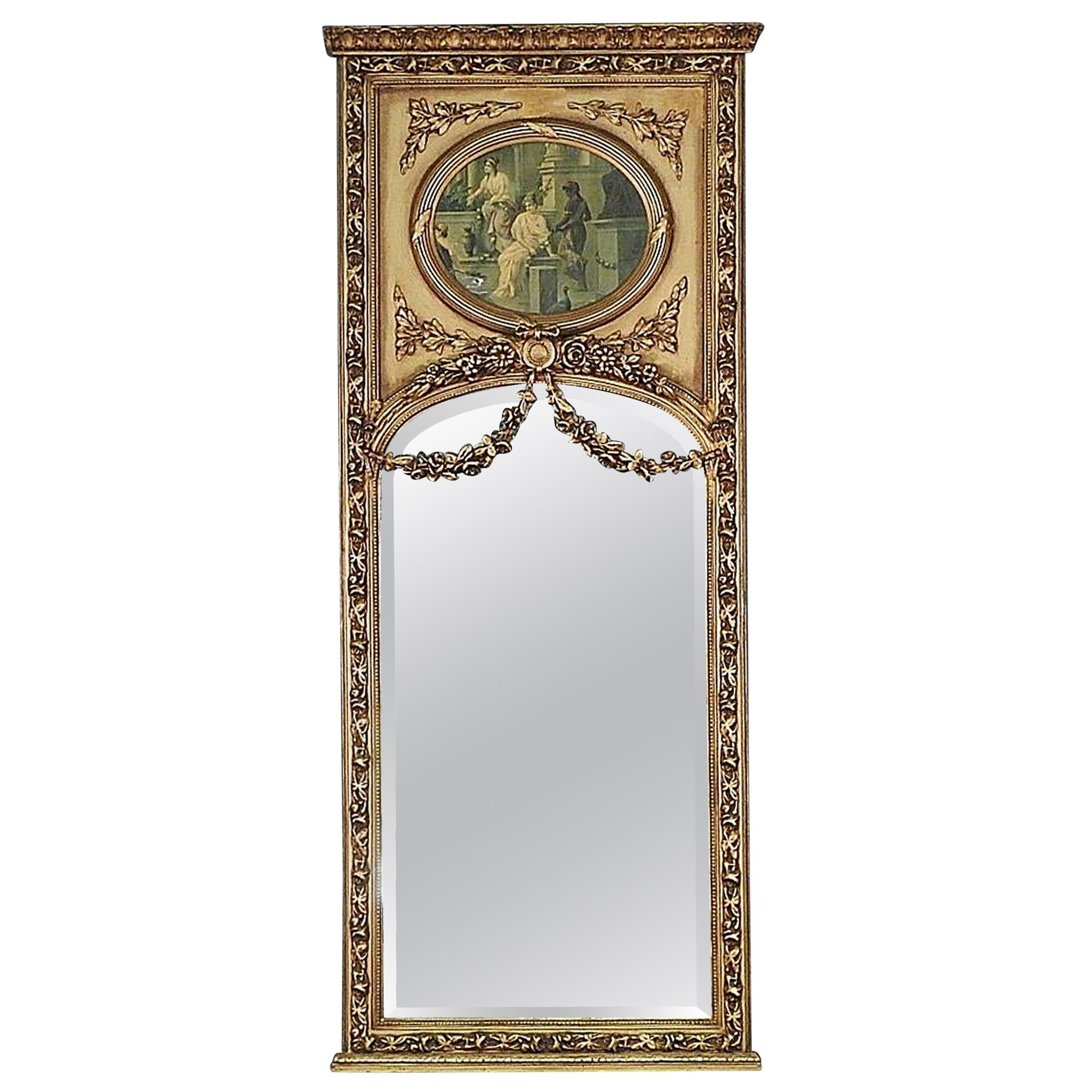 Tall Gilded French Louis XV Style Trumeau Mirror with Neoclassical Print