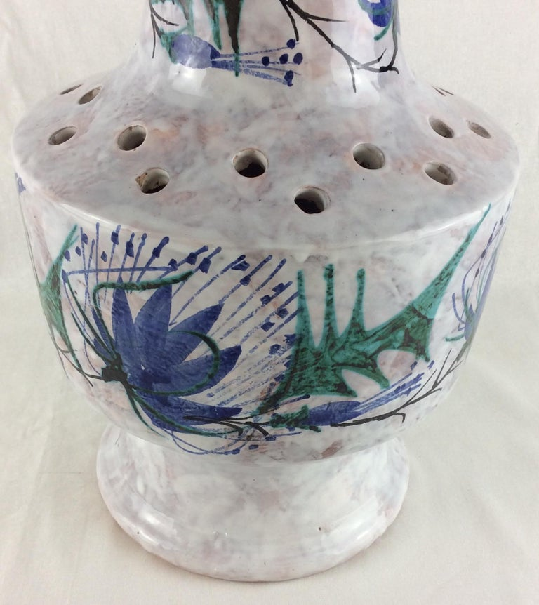 French Tall Glazed Midcentury Ceramic Vase from Vallauris, France Signed Le Brescon For Sale