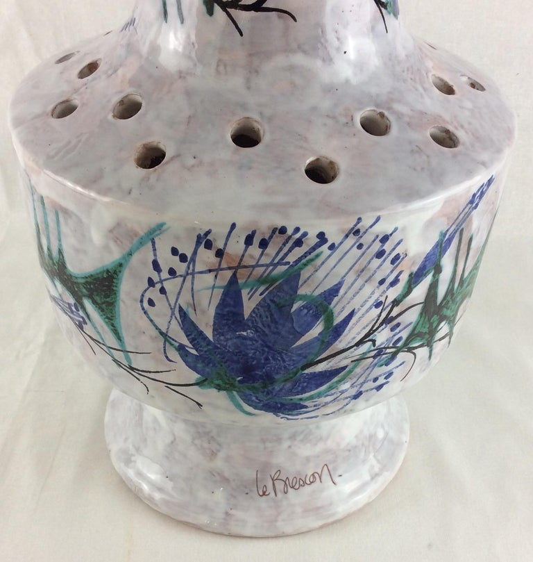 Mid-20th Century Tall Glazed Midcentury Ceramic Vase from Vallauris, France Signed Le Brescon For Sale
