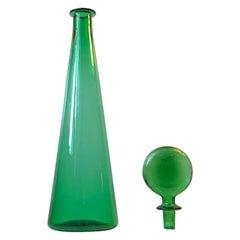 Tall Green 'Lollipop' Glass Decanter from Empoli, 1970s