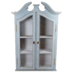 Tall Grey Painted Hanging Glass Cabinet in Gustavian Style from circa 1820