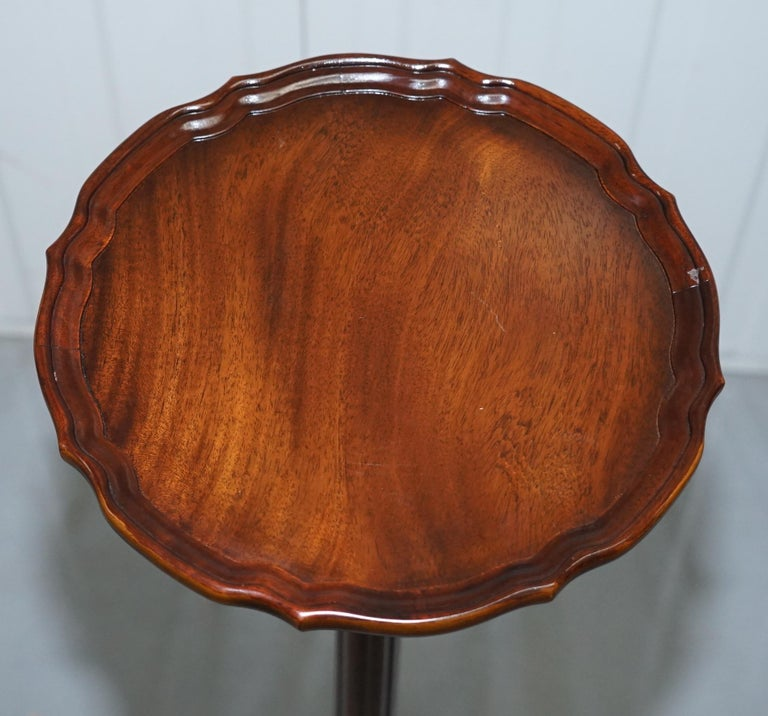 20th Century Tall Hand Carved Mahogany Jardiniere Stand, Claw & Ball Feet Scalloped Edge Top For Sale