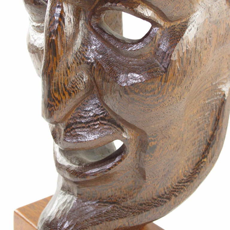 Tall Hand Carved Palm Wood Grotesque Mask Sculpture Signed and Dated For Sale 3